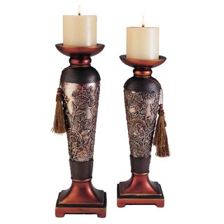 Hoya Polyresin Candleholders (Set of 2)