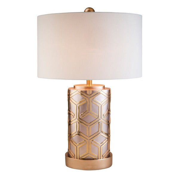 Rose Gold Bamboo Weave Polyresin Table Lamp Free