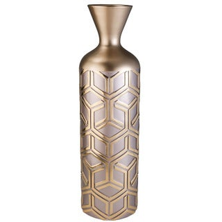 Rose Gold Bamboo Weave Polyresin Vase Decor