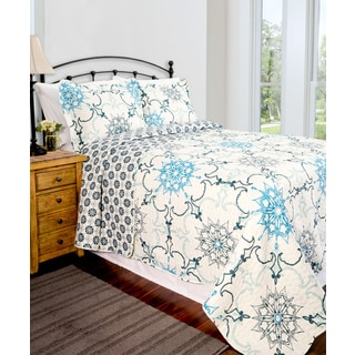 Intelligent Design Liliana Blue Damask 3 Piece Coverlet