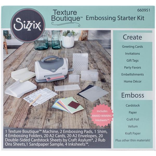 Sizzix Texture Grey/White Paper Boutique Embossing Machine Starter Kit Bundle