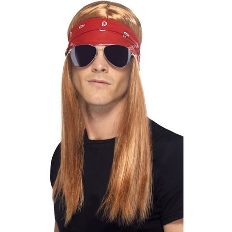 Men's Long Blonde Wig with Red Bandana and Aviator Glasses