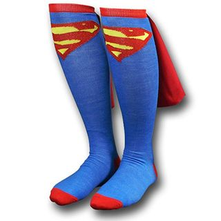 Superman Knee High Caped Socks with Cape