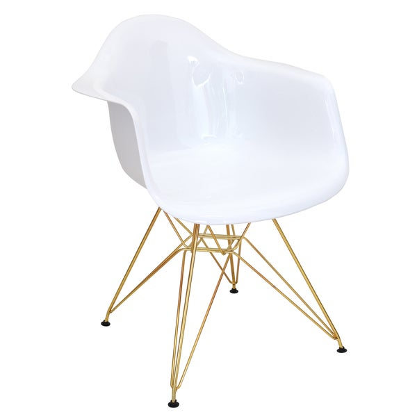 Mid Century Modern Neo Flair Accent Chair In White And