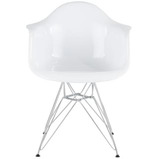 Mid Century Modern Neo Flair Chair in White and Gold