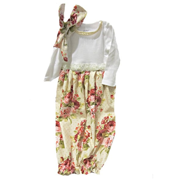 Shop Layette Gown Baby Girl Infant Victorian Roses Coming Home ...