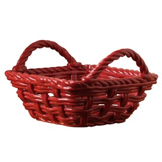 Ceramic Red Woven Chill and Heat Serving Basket