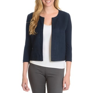 Joan Vass Women's Perforated Suede Front Cardigan