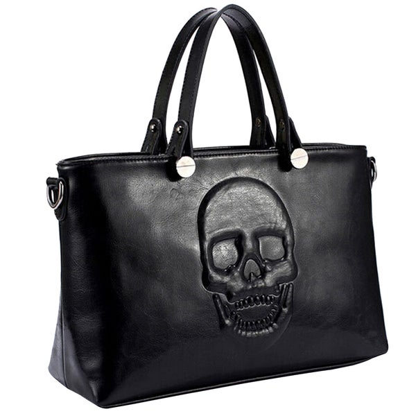 Mechaly Women X27 S Skully Black Vegan Leather Skull Handbag