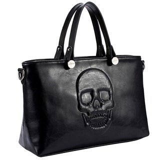Mechaly Women's Skully Black Vegan Leather Skull Handbag