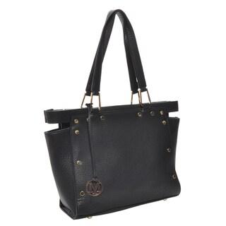 Mechaly Women's Kaylee Black Vegan Leather Tote Handbag