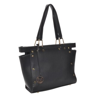 Mechaly Women's Kaylee Black Vegan Leather Tote Handbag