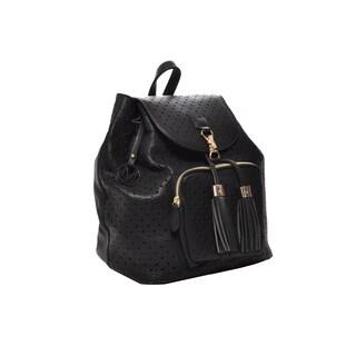 Mechaly Women's Jamie Black Vegan Leather Backpack