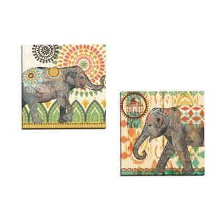 Portfolio Canvas Decor 'Caravan Elephant 1' Jennifer Brinley 16-inch x 16-inch Wrapped Canvas Wall Art