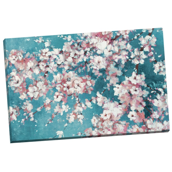 Cherry Blossom Canvas Wall Art portfolio canvas decor 'into the cherry blossom teal' bridges 24