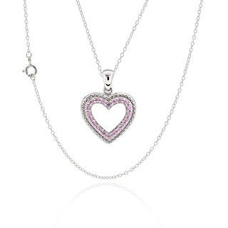 Sterling Silver Cubic Zirconia Open Heart 17-inch Chain Necklace