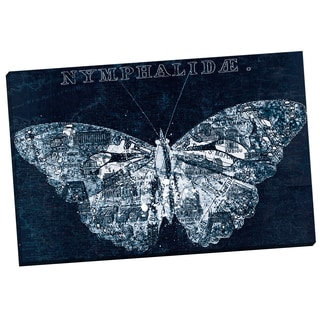 Portfolio Canvas Decor 'Map Butterfly Navy 1' IHD Studio 24-inch x 36-inch Wrapped Canvas Wall Art