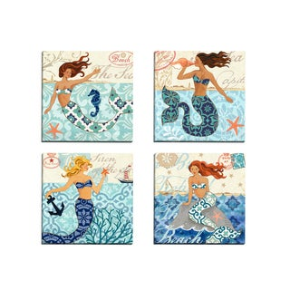 Portfolio Canvas Decor 'Mermaid Blonde' Jennifer Brinley 12-inch x 12-inch Wrapped Canvas Wall Art
