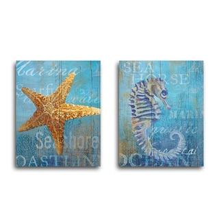 Portfolio Canvas Decor 'Seahorse and Sea Crop' Ali Zoe 16-inch x 20-inch Wrapped Canvas Wall Art