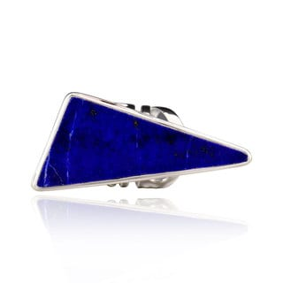 Sterling Silver Freeform Triangle Lapis Ring (China)