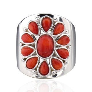 Sterling Silver Oval Coral Ring