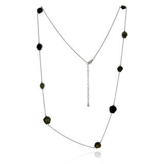 Handmade Sterling Silver Freeform Labradorite 36-inch Cable Chain Necklace