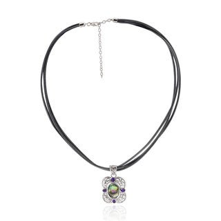 Sterling Silver Oval Abalone and Amethyst 18-inch Leather Cord Necklace