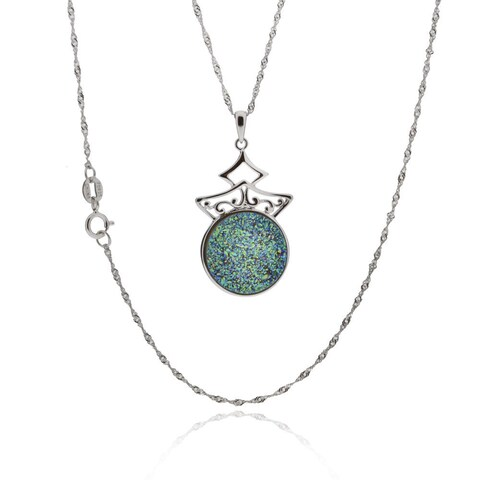 18-inch Sterling Silver Round Druzy Pendant Necklace (China)