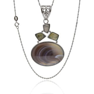 Sterling Silver Oval Agate Singapore Chain Necklace (China)