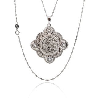 Sterling Silver Round Druzy and White Topaz 18-inch Singapore Chain Necklace
