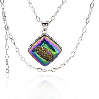 Sterling Silver Square Druzy Necklace with 18-inch Rhombus Chain