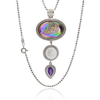 Sterling Silver Oval Druzy Necklace with 18-inch Bead Chain