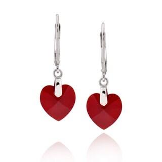 Sterling Silver Heart Genuine Austrian Crystal Elements Earrings