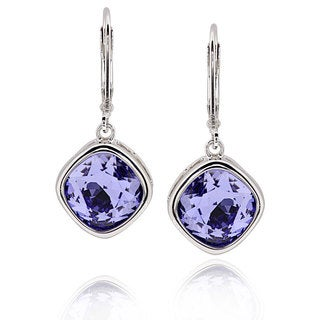 Sterling Silver Square Cushion Genuine Austrian Crystal Elements Crystal Earrings