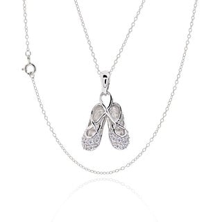 Sterling Silver Cubic Zirconia Ballet Slippers 17-inch Chain Necklace