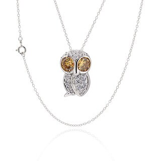Sterling Silver Cubic Zirconia Owl Necklace (China)