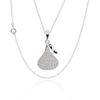 Sterling Silver Cubic Zirconia Candy Drop 17-inch Chain Necklace