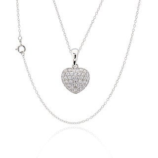 Sterling Silver Cubic Zirconia Heart 17-inch Chain Necklace