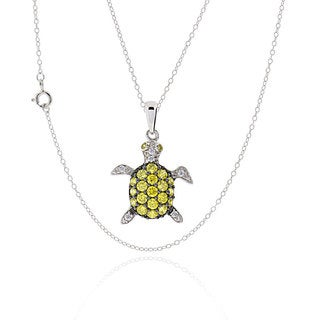 Sterling Silver Cubic Zirconia Turtle 17-inch Chain Necklace