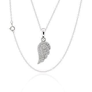 Sterling Silver Cubic Zirconia Angel Wing 17-inch Chain Necklace (China)