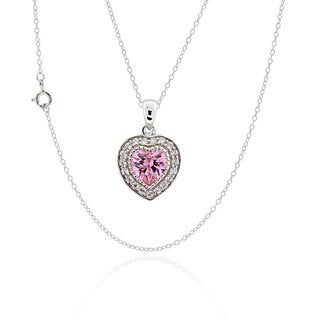 Sterling Silver Cubic Zirconia Heart 17-inch Chain Necklace (China)