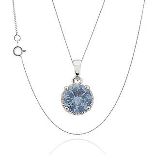 Women's Sterling Silver Aquamarine 18-inch Chain Pendant Necklace