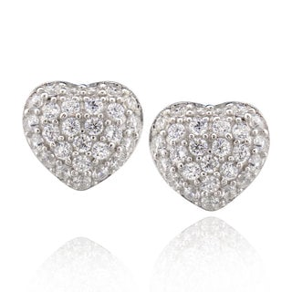 Sterling Silver Cubic Zirconia Heart Stud Earrings (China)