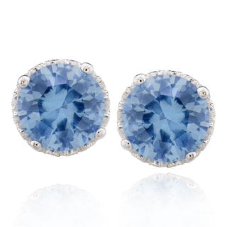 Sterling Silver 4 Ct Round Synthetic Aquamarine stud earrings