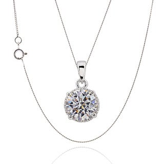 Sterling Silver Round Cubic Zirconia 18 Inch Chain Necklace