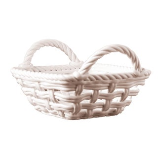 Ceramic White Woven Chilll and Heat Serving Basket
