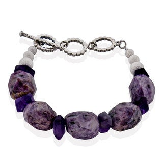 Sterling Silver Charoite, Amethyst Nugget Bracelet