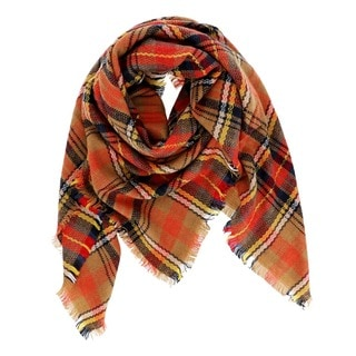 Orange Plaid Blanket Scarf