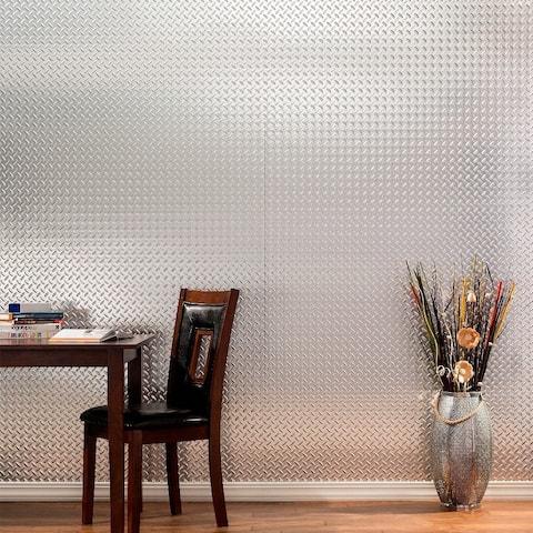 Fasade Diamond Plate Brushed Aluminum 4-foot x 8-foot Wall Panel