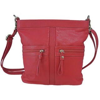 Pielino Leather Crossbody Handbag with Zipper Accent